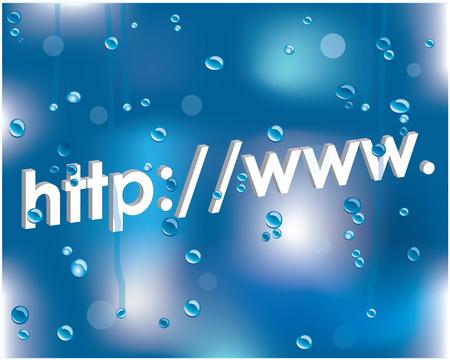 Internet address on a wet glass Vector