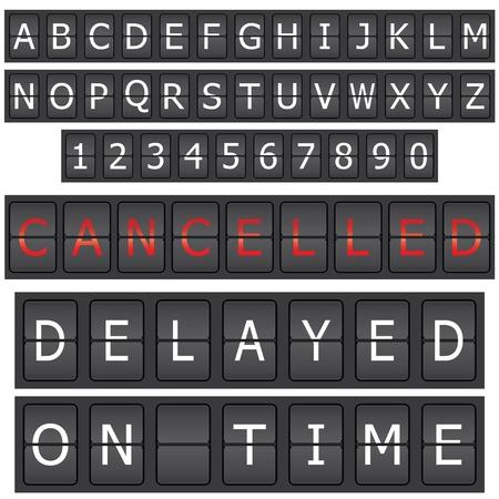 timetable: Insieme di lettere e numeri su un calendario di meccanico  Vettoriali