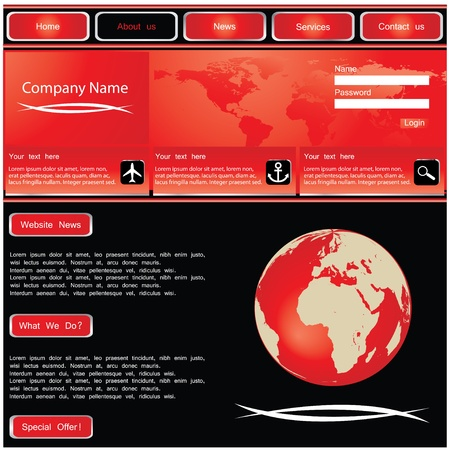 web site design template with globe Stock Vector - 8760652