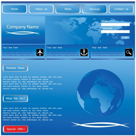 blue website template Stock Vector - 8760653