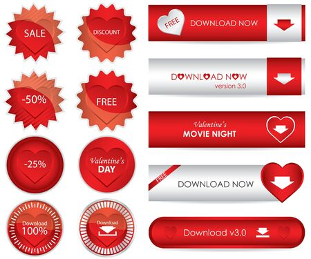 special red website download buttons - valentines day edition Vector