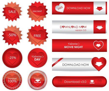 edizione straordinaria: speciale sito Web rosso Scarica pulsanti - edizione di San Valentino