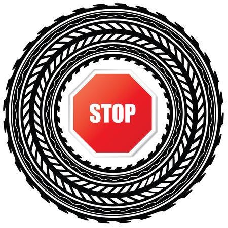 summer tires: pista de neum�ticos con se�al de stop  Vectores