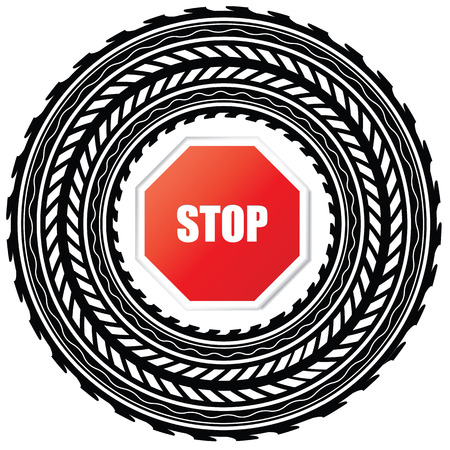 summer tire: tire track with stop sign