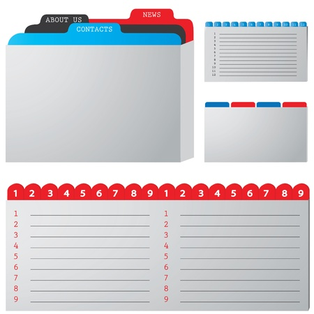 tabbed folder: colored illustration of a folder containing documents Illustration