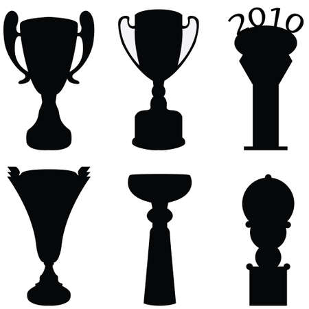 black vector - collection of trophies Vector