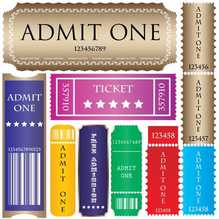 set of ticket admit one Stock Vector - 9083158