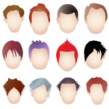 set of men hair styling: hairstylist Illustration
