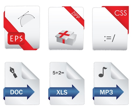 file extension: Set of file extension detailed icons Illustration