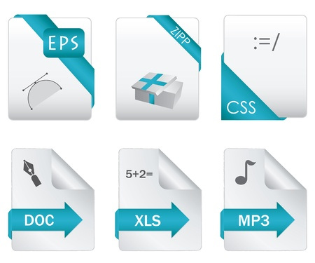 Set of file extension detailed icons Vector
