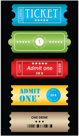 Tickets in different styles Vector