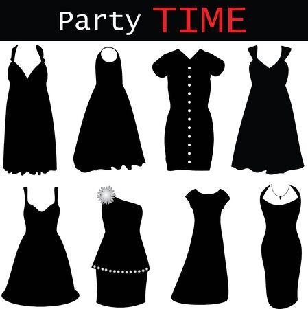 Einbuchtung: Vector Illustration of modern Abendkleider - neue Mode