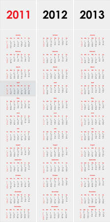 Set of 2011,2012 and 2013 calendar Vector