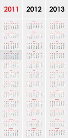 Set of 2011,2012 and 2013 calendar Vector