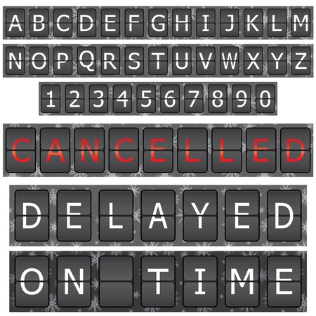 arrival departure board: Set of letters and numbers on a mechanical timetable
