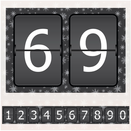 Set of numbers on a mechanical timetable - Christmas edition Vector