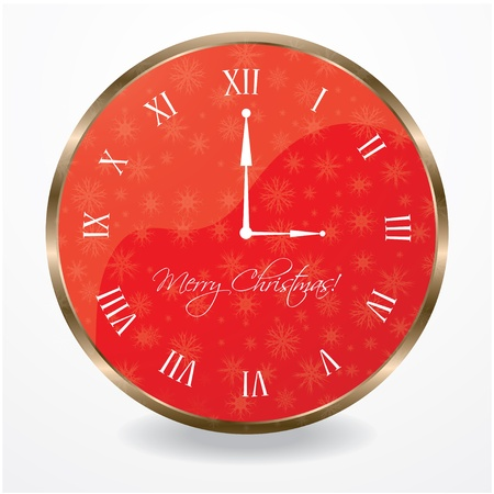 special wall clock with snowflakes Vector