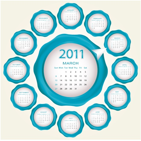 Calendar design 2011 Stock Vector - 9535784