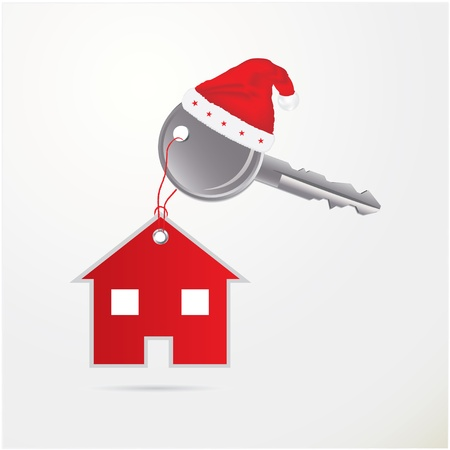 christmas savings: illustration of house key - Christmas gift
