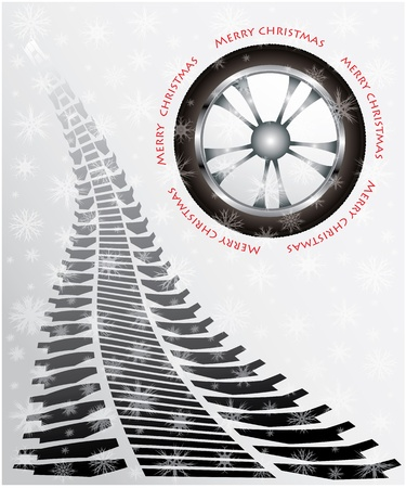 snow chain: special Christmas card with tire design