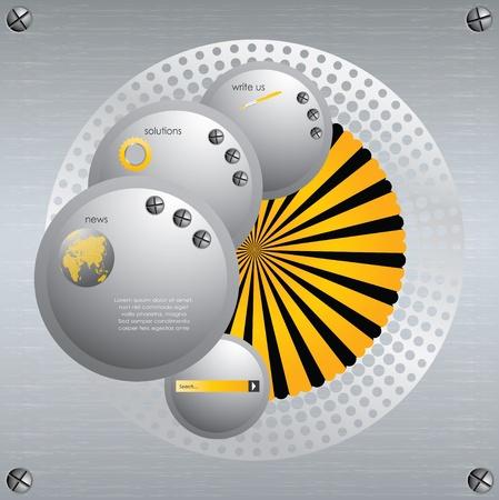 Website template with metallic design Stock Vector - 9418839