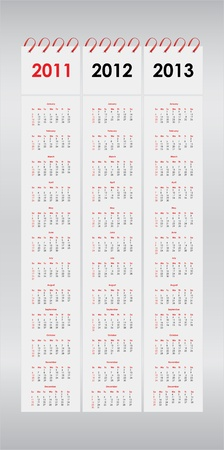 set of 2011, 2012 and 2013 calendar Vector