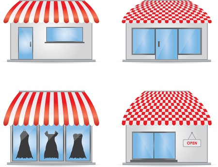 convenient store: Cute shop icons with red awnings
