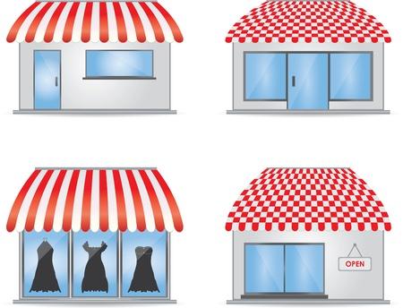 trabajo manual: Iconos de tienda linda con toldos rojos Vectores