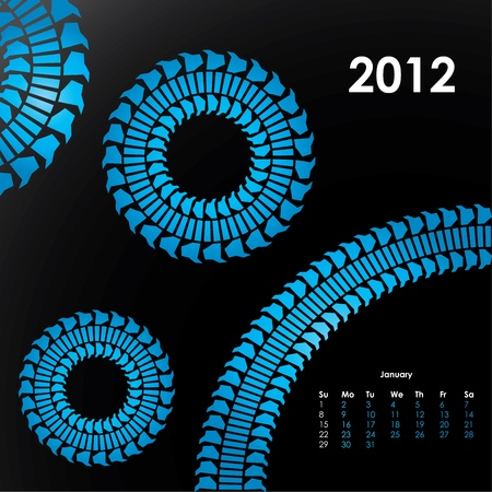 special calendar for 2012 with tire design Stock Vector - 9517635