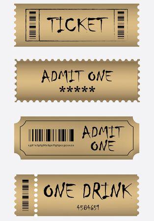 entry numbers: Various golden ticket set Illustration