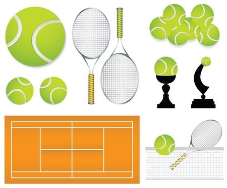 raqueta de tenis: elementos de dise�o de deporte de tenis Vectores