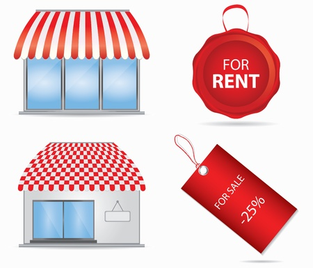 bancarella: Icona sexy shop con tende da sole rossi