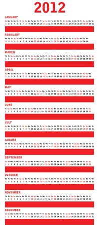 Special red calendar for 2012 Vector