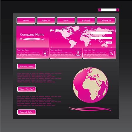 Pink website template Stock Vector - 9901461