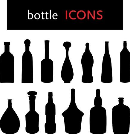 alcoholismo: Siluetas de botella Vectores