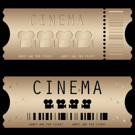 action movie: Movie ticket in different styles - vector Illustration