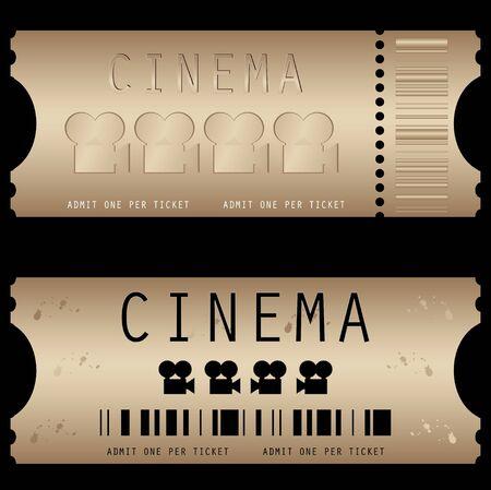 Movie ticket in different styles - vector Ilustracja