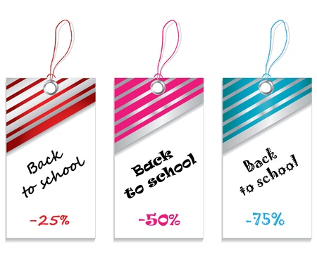 school bills: price tags set isolated on white