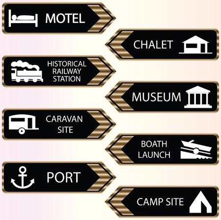 hospedaje: conjunto de iconos de lugares turísticos