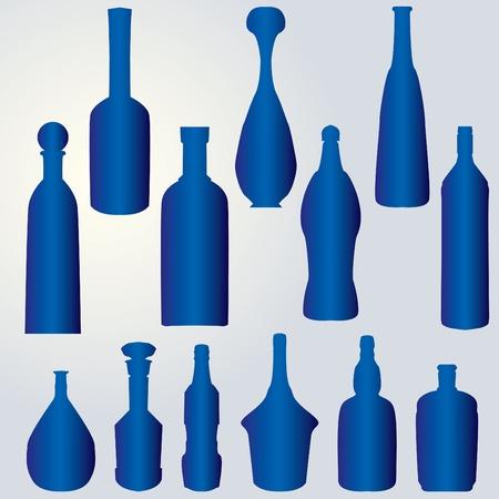 botellas vacias: silueta de botellas