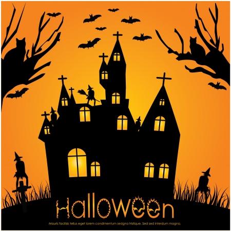 spooky house: halloween invitation Illustration