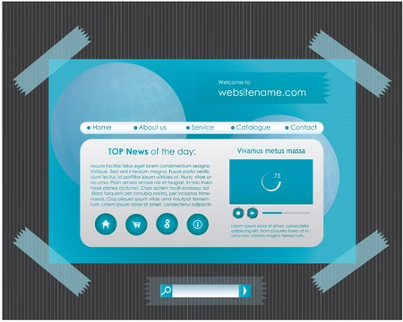 advertisment: Blue website template with tapes