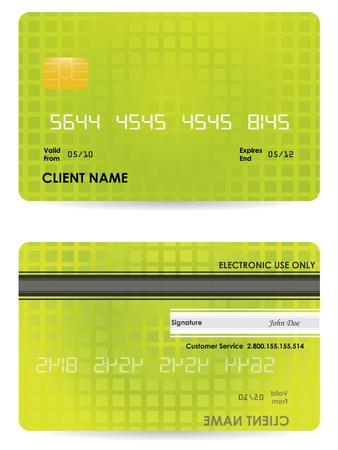 debit: Vector credit card, front and back view Illustration