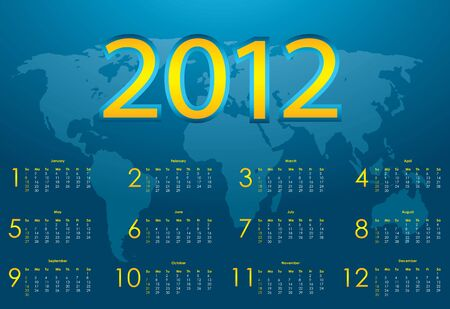 2012 calendar with blue abstract background Vector