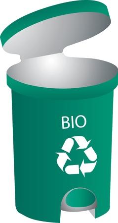 separacion de basura: Papelera de reciclaje abierto
