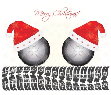 snow tires: special Christmas background with tire design