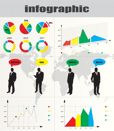 reflection internet: Colorful infographic and businessman silhouette collection