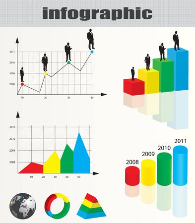 Colorful infographic and businessman silhouette collection  Vector