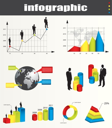sillouette: infographic graphs and elements