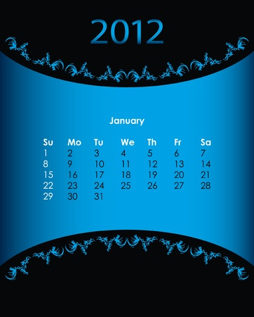 vintage calendar for 2012, january Vector